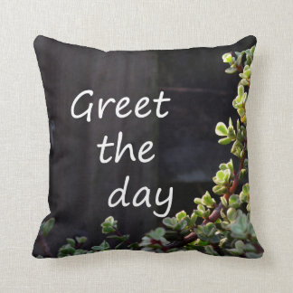 greet the day with baby jade throw pillow