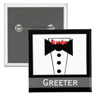 Greeter - Tux conocido de encargo que casa el botó Pin