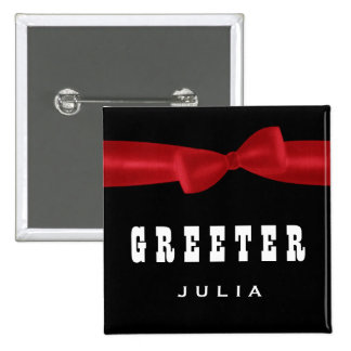 GREETER Wedding Custom Name V02S RED Pinback Button