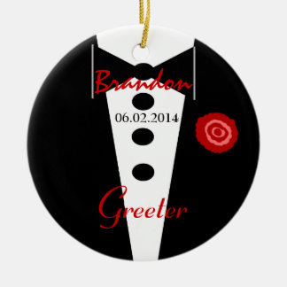 Greeter Wedding Favor Custom Name Tux Ceramic Ornament