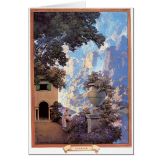 Greetin card with 'Sunrise' by Maxfield Parrish