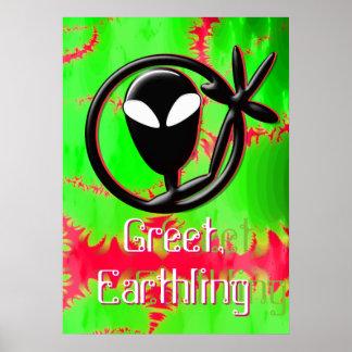 Greeting Alien Greet, Earthling Fractal Poster