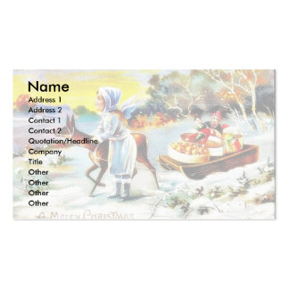 Greeting as santa claus sitting in a cycle ricksha Double-Sided standard business cards (Pack of 100)