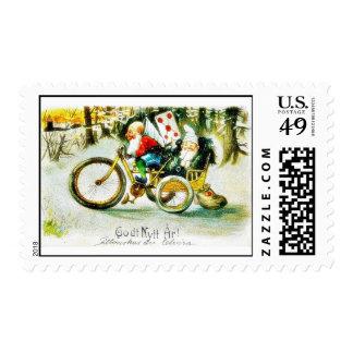 Greeting as santa claus sitting in a cycle ricksha postage stamps
