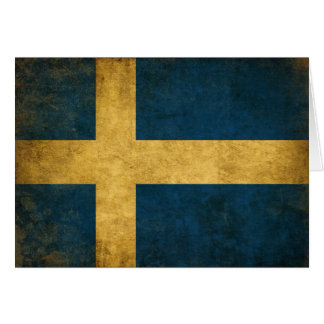 Greeting Cad with Vintage Swedish Flag Card