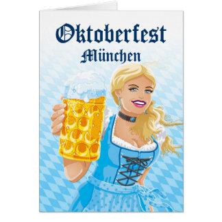Greeting Card Beautiful Dirndl Woman Beer Stein