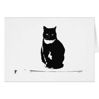 Greeting Card - Black/White Cat and Toy Soldier