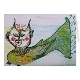 Greeting Card - Cat Fish Whimsical Art
