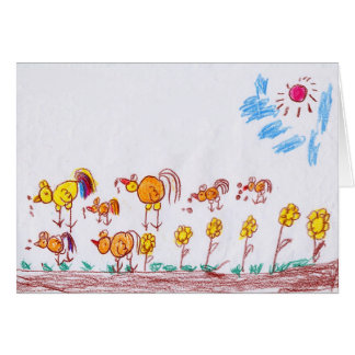 "GREETING CARD: ""Chickens"" by Ma Theu (2nd grade) Greeting Card"