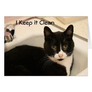 Greeting Card: Clean Geppetto Cat Card