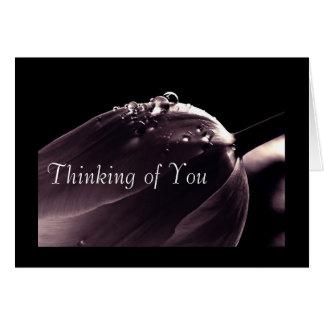 Greeting Card, Dark Purple Tulip Thinking of You Card