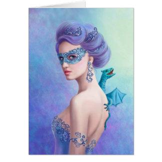 Greeting Card Fantasy winter woman, beautiful