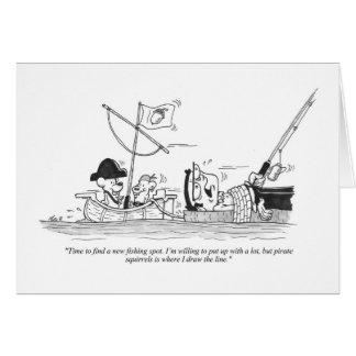 Greeting Card - Fishing Cartoon - Pirate Squirrels