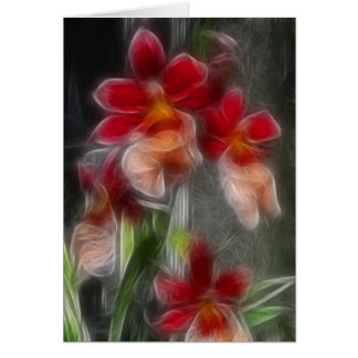 Greeting Card - Floral Abstract in Red