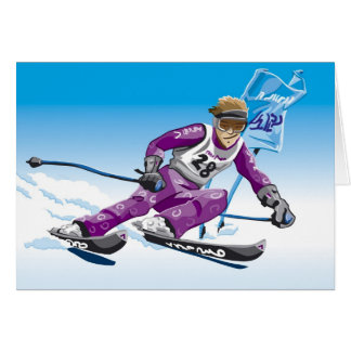 Greeting Card Giant Slalom Skier Winter Sport