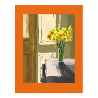 Greeting card gift Easter flowers in a vase