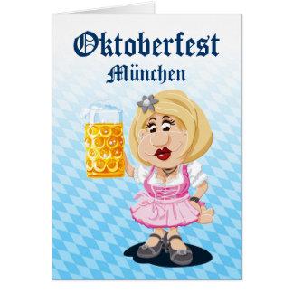 Greeting Card Happy Dirndl Cartoon Woman Beer