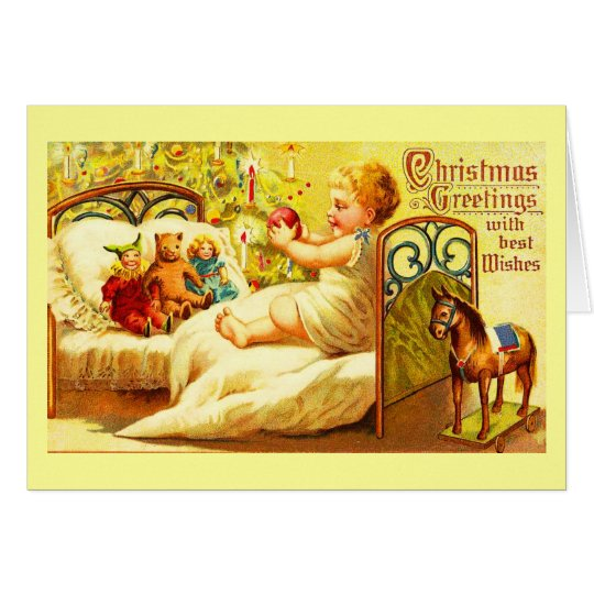 Greeting Card-Holiday Art-Vintage Christmas 4 Card