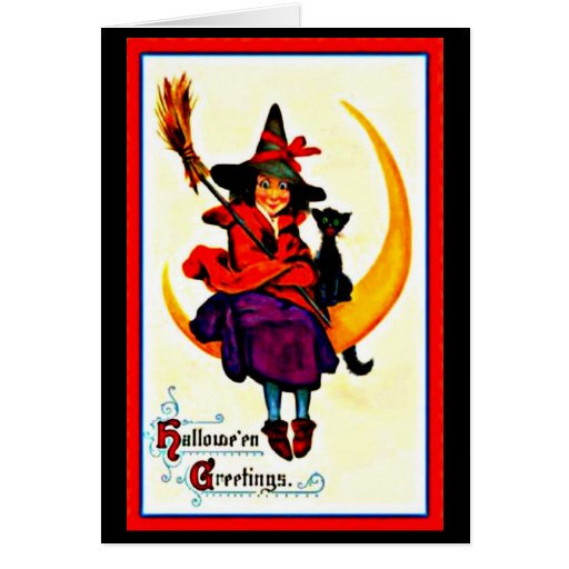 Greeting Card-Holiday Art-Vintage Halloween 45 Stationery Note Card