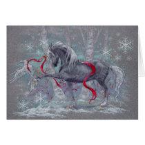 Greeting Card - Holiday Unicorn Snow Bird