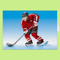 Greeting Card Ice Hockey Player Winter Sport