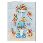 """Greeting card """"Little Bears on the Toilet"""""""
