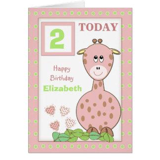 Greeting Card little girl birthday pink giraffe