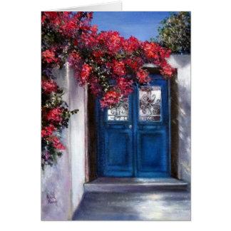 Greeting Card of Santorini Door
