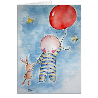 Greeting Card  Red Baloon