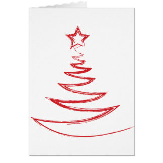Greeting Card--Red Doodle Christmas Tree Card