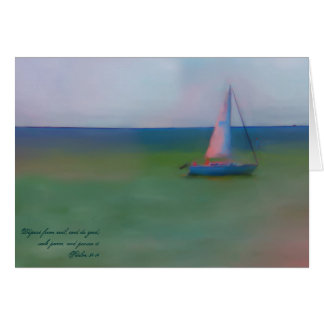 Greeting Card - Sailing Boat Bible Verse Scripture