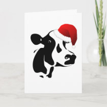Greeting Card Santa Cow Christmas Card