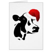 Greeting Card Santa Cow Christmas Card