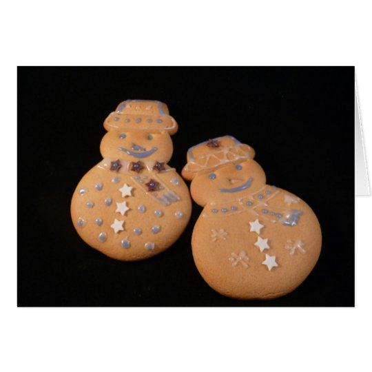 Greeting Card-Snowman Cookie Couple Card