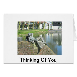 Greeting Card Statue Of Boy Relaxing by Pond
