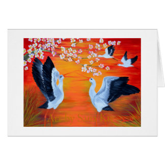 Greeting Card. Storks and Cherry Blossom Card
