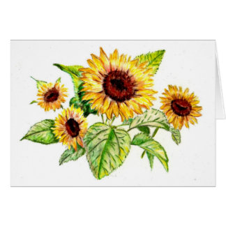 Greeting Card, Sunflower Bouquet Drawing Card