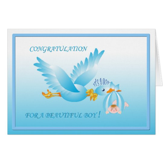 GREETING CARD WITH BLUE STORK