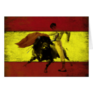 Greeting Card with Bullfight on Dirty Spanish Flag