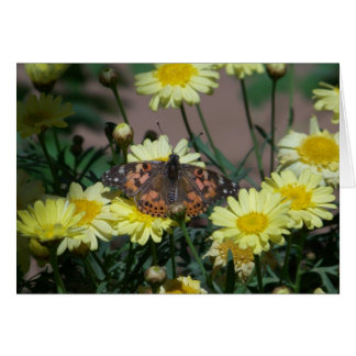 Greeting Card with butterfly and yellow flowers