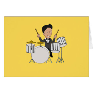Greeting card with cartoon drummer