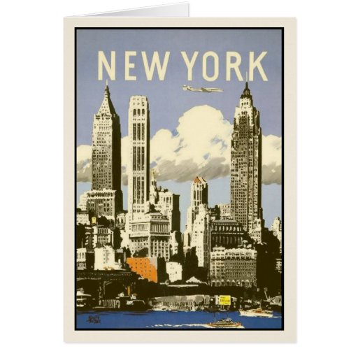 Greeting Card With Cool Vintage New York Print