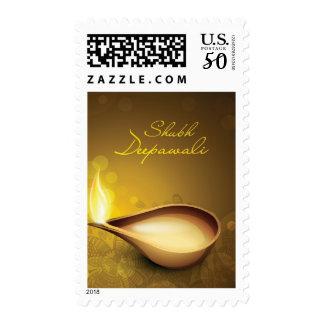 Greeting card with diya for Diwali festival Postage