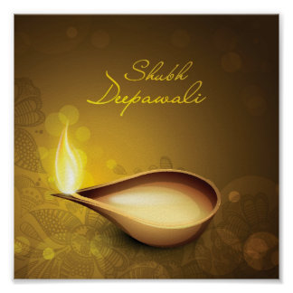 Greeting card with diya for Diwali festival Poster