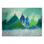 greeting card with evergreen trees painting