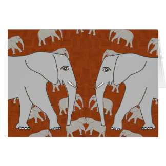 Greeting Card with Mirrored Elephants