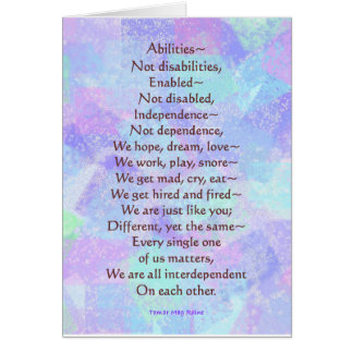 Greeting card with my ABILITIES poem