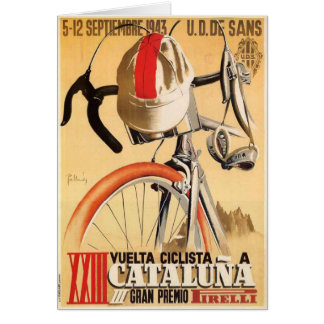 Greeting Card with Old Bicycle Race Poster