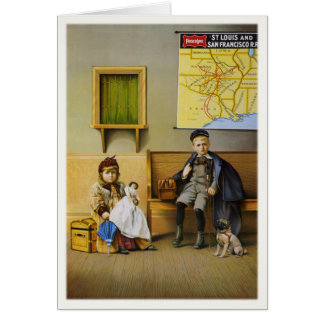Greeting Card With Railroad Ad Poster Print