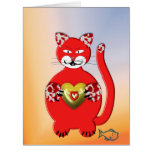 Greeting card with talk cat